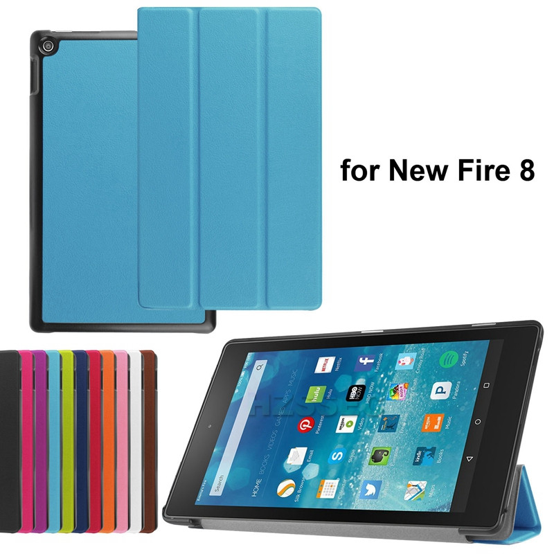 New arrival magnetic PU leather stand tablet PC case cover for Amazon New Fire 8 inch