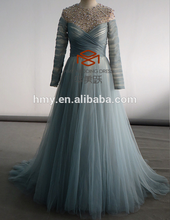 High Customized Charming Long Skirt 3/4 Sleeve 30D Chiffon Evening Dresses Real Model HMY-D112
