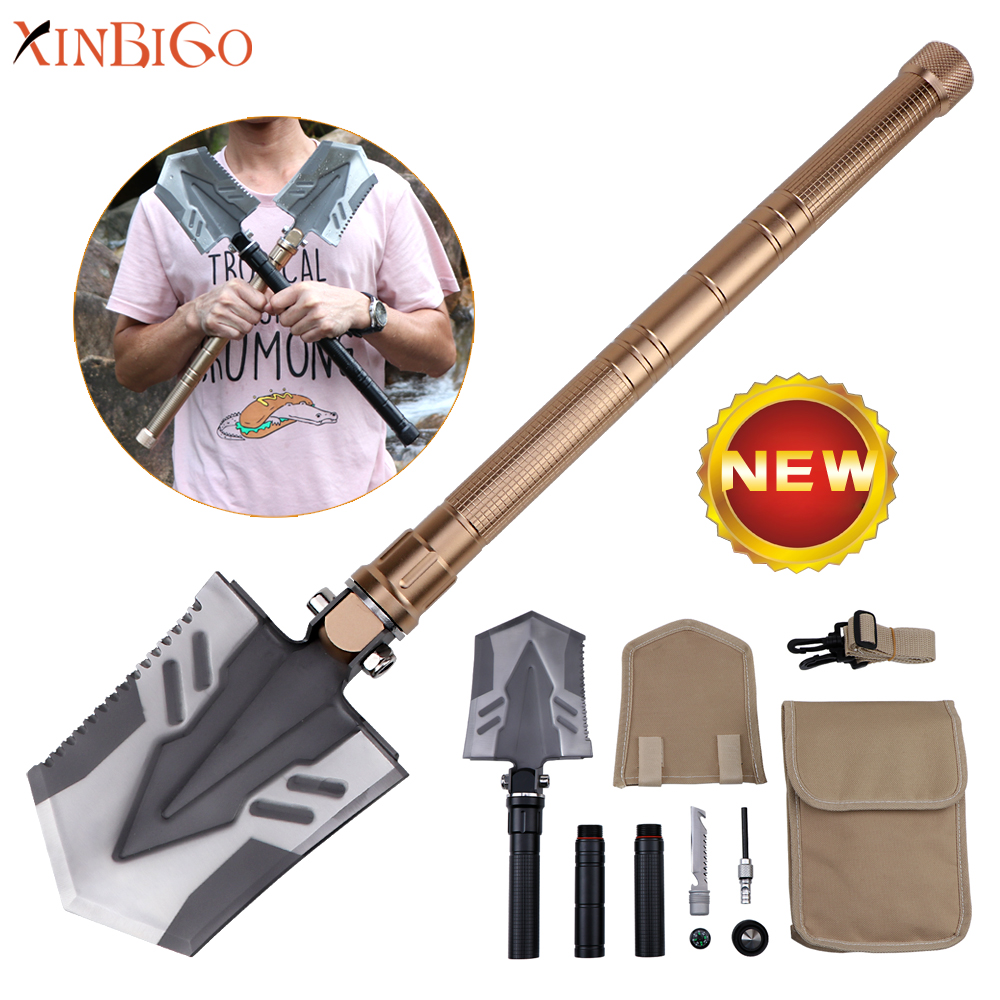 Wholesale new stainless <strong>steel</strong> metal small mini tactical military foldable shovel