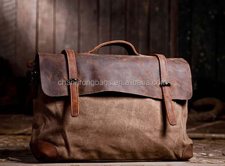 Retro Designer mens and womens canvas satchel genuine leather canvas messenger leather canvas shoulder bag laptop bag