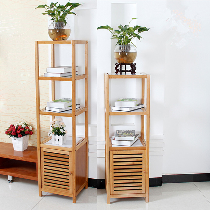 4 tier bamboo bathroom storage rack