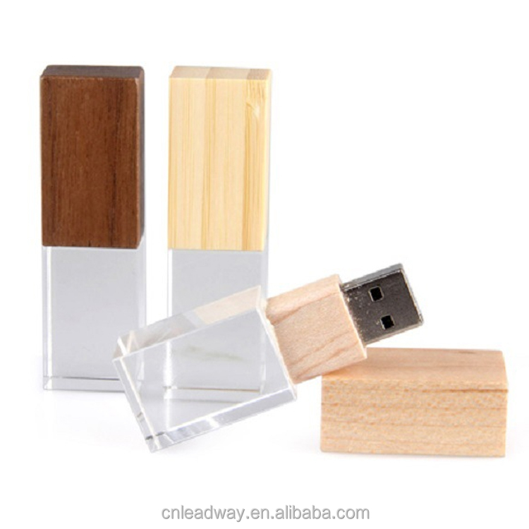 Wood cap crystal material best price memory stick driver with LED light logo wholesale 1GB to 32GB