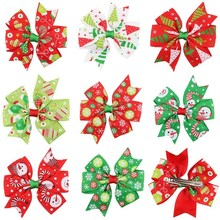 3 inch Christmas Ribbon large Bows with clips for Christmas Party Decoration Boutique Ribbon Bows for christmas