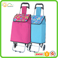 Foldable fashion supermarket rolling shopping trolley bag /polyester shopping cart