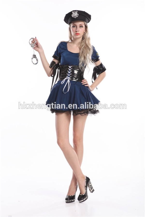 "Trade assurance $ <span class=""wholesale_product""></span> Adult Women Navy Blue Police Cop Uniform Costume Halloween Fashion Out"
