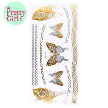 gold anklet designs hologram foil metallic tattoo ink sticker off M-T014 gold