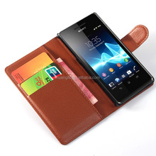 cell phone case for Sony Xperia Z4, Litchi pattern Wallet Flip Leather Cover for Sony Z4