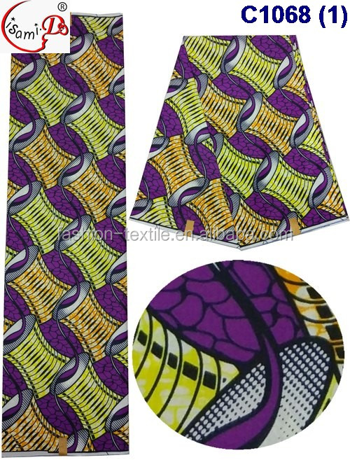 Fashion 2017 C1068 African traditional wax in many designs and color in stock for wholesale wax fabric