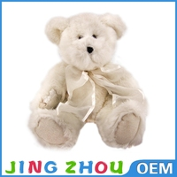 super soft plush silk ribbon white teddy bear wholesaler