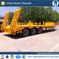 high specification low bed semi trailer , customized dimensions tri-axle semi low bed truck trailer for sale