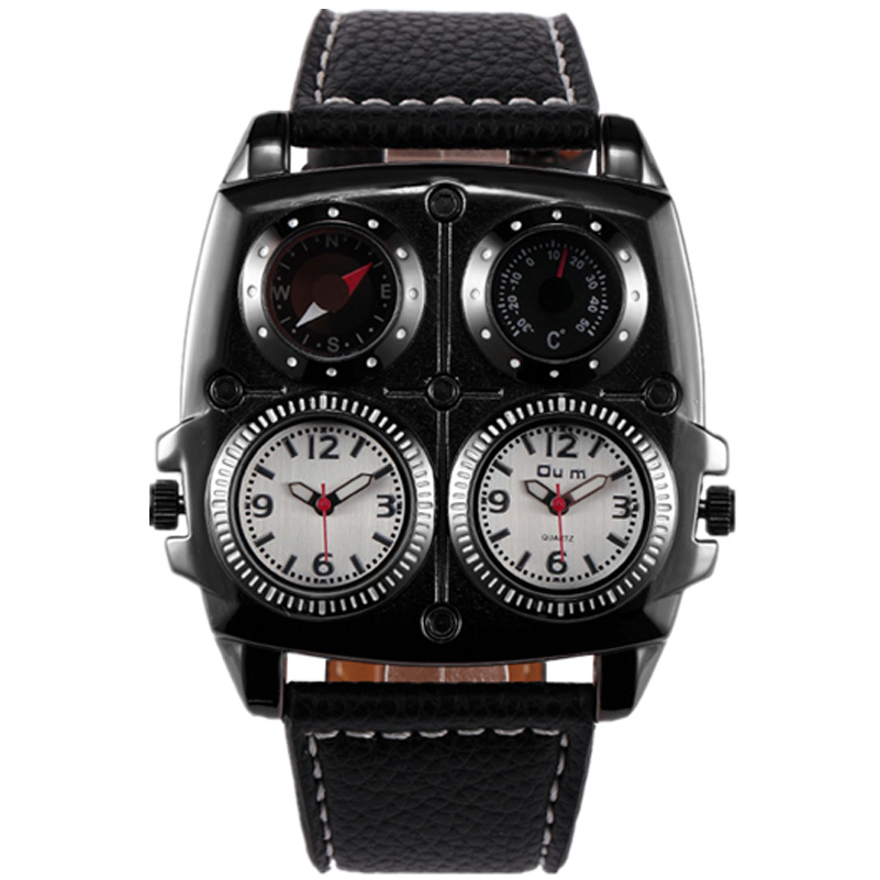New design high quality two time zoon big face OULM watches men