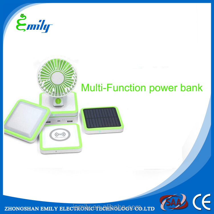 10000mah solar power bank with induction charger Led light and mini fan for smart phone