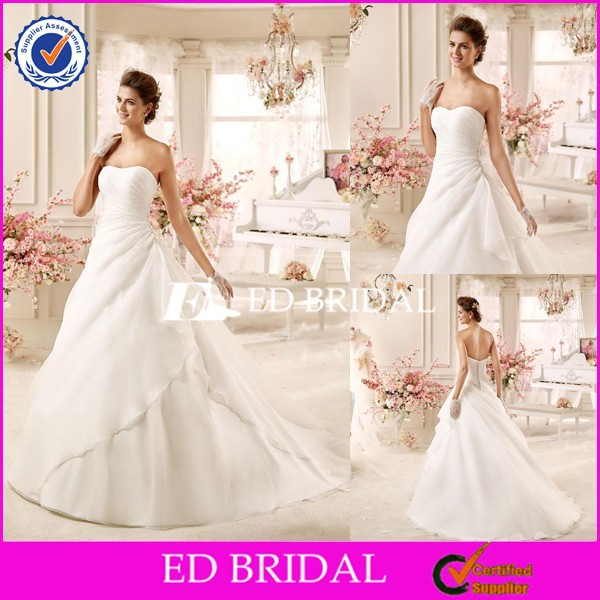 CE1290 New A-Line Strapless Backless White Organza Wedding Dresses Dubai