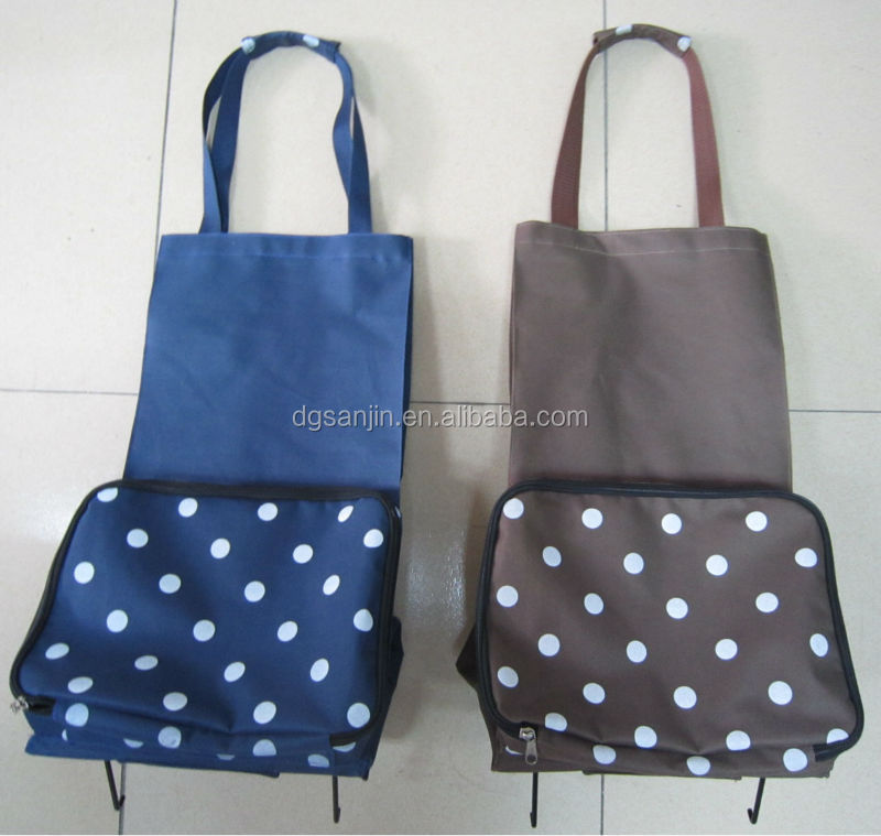 Wholesale High quality Foldable Shopping bag with plastic wheel in stock
