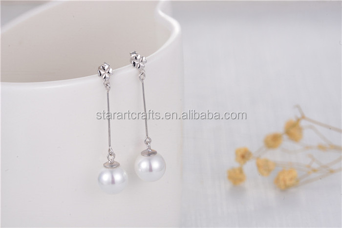 Classical Bridal Jewelry 925 Sterling Silver Freshwater AAA 8mm Pearl Earring