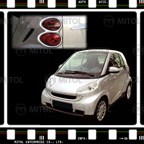 For Smart Fortwo Chrome Tail Lamp Rim Frame Cover