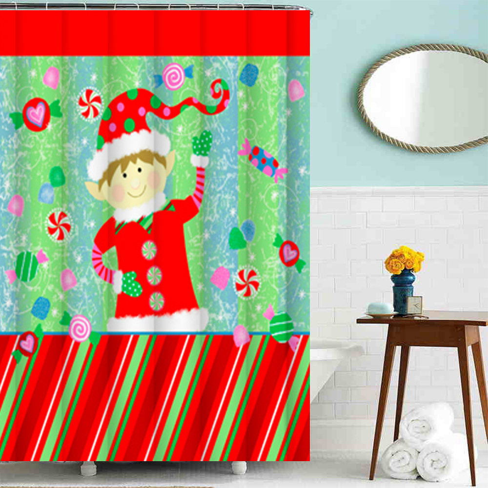 Mildew free Printed Christmas Fabric Shower Curtain