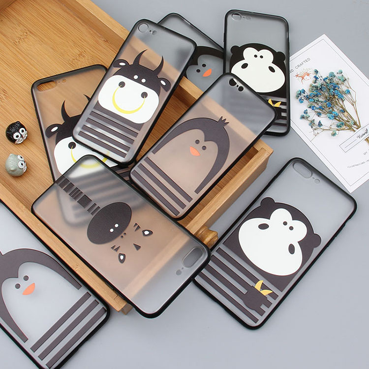 tpu with acrylic cute cartoon embossment matte transparent phone case for i phone 7 plus