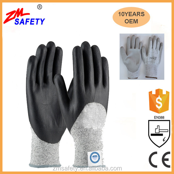 EN388 100% Cut Level 5 PU Coated Cut Proof Gloves