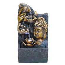 Religion Decoration LED Light Buddha Face Water Fall Indoor Fountain