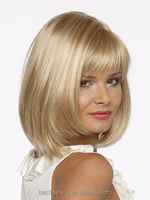 Short bob hairstyles wunder wigs brown blonde highlights with bangs