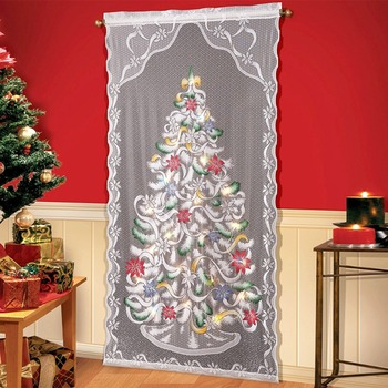 Christmas Tree Curtain Lighted Lace Panel 40 X84 Inch For Party Decoration Colorful