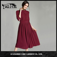 Summer Women Petals Sleeves Stand Collar Casual Solid Chiffon Pleated Dress