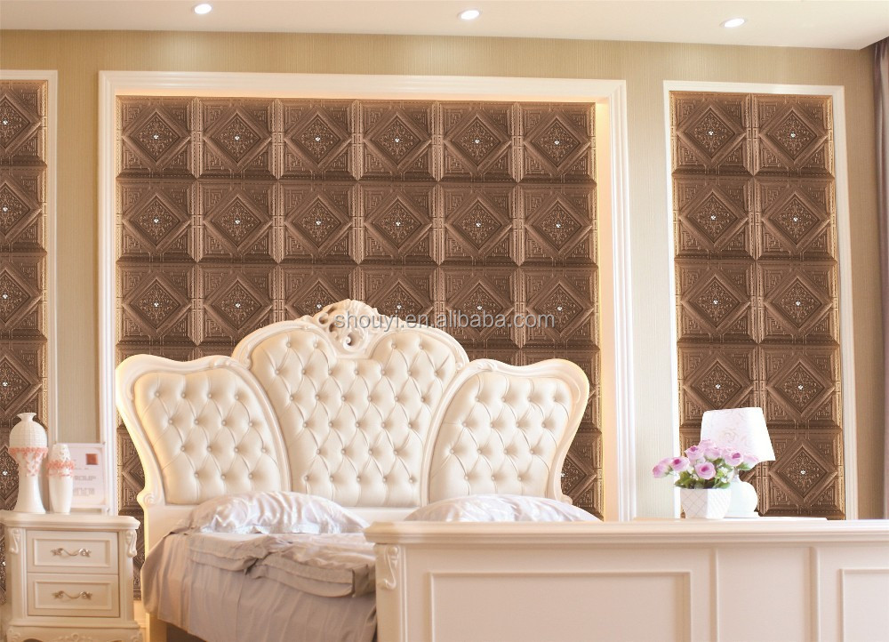 3D decorative construction material PU leather tiles for interior house decoration