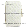 Luxury White Quilted Zipper Around Leather Sleeve for iPad Mini