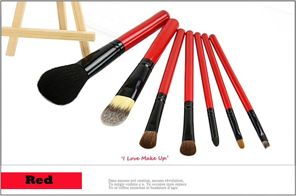 Red 7pcs cheap makeup brush set free sample