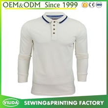 wholesale cheap men's slim fit extended cotton long sleeve polo shirt