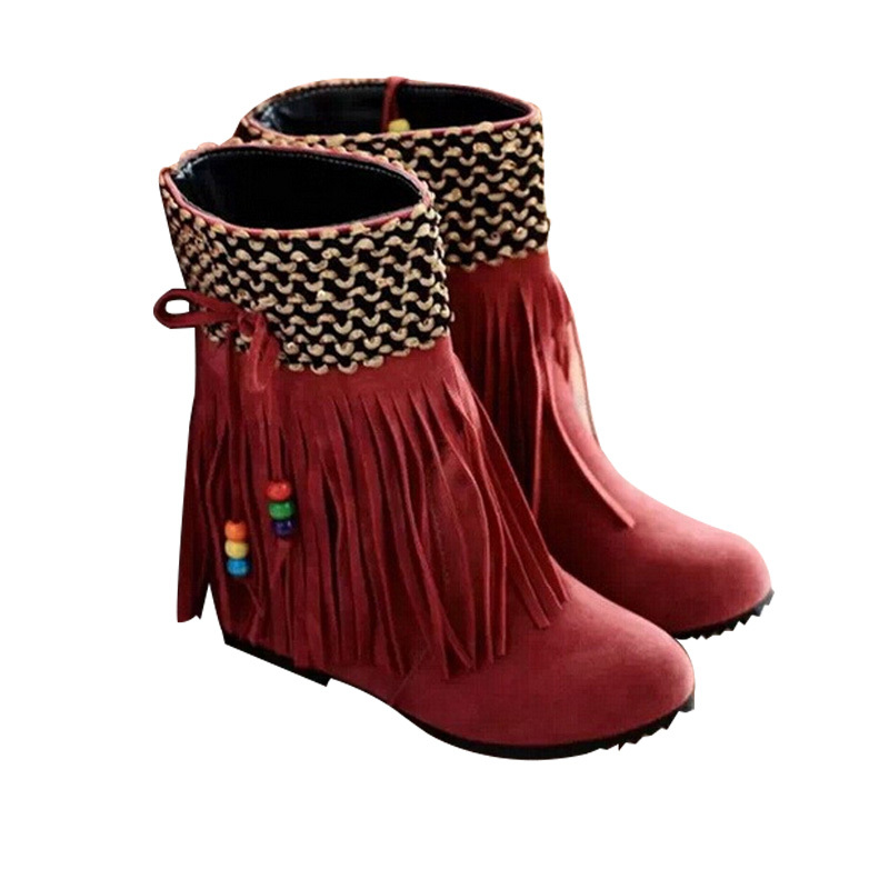 2014 New Ladies Fashion Tassel Snow Boots Ladies Fashion autumn ankle Boots Fashion Women shoes Slip-on Boots Flat DX439