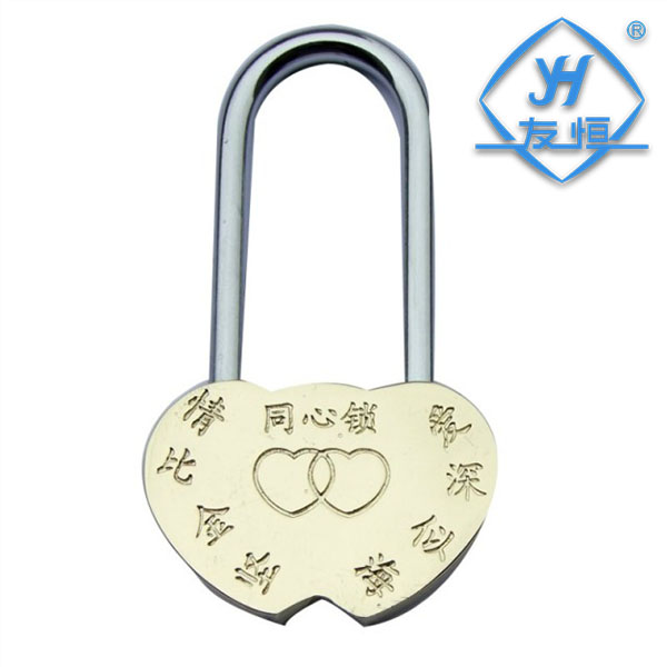 YH1043 factory direct sale heart shaped keyless padlock 40mm brass padlock