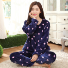 Ladies Printed Flannel Fleece Pajama Nightwear Set