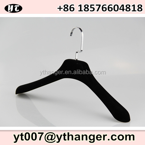 black velvet flocked plastic clothes hanger for heavy duty jacket