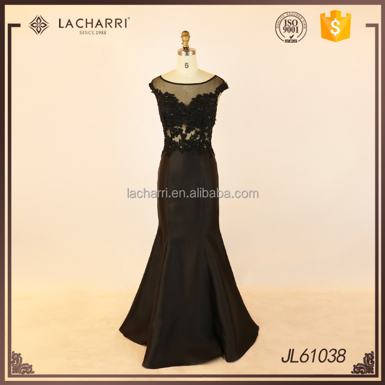 Dignified Cap Sleeve Black Mermaid Long Evening Dress with Sheer Back