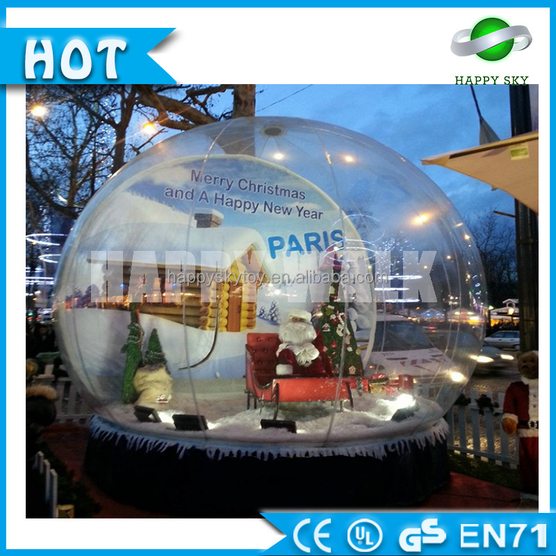 Indoor Christmas air blown inflatable snow globe ,Giant inflatable human size snow globe