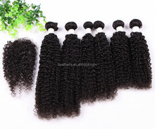 Most popualr hair style 100% Human virgin hair bundles with lace closure with cheap price