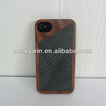 Hot! Brand new Custom bamboo or Wood+real leather phone Case for iphone 5