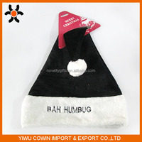 High quality Embroidery black Xmas Santa hat Christmas party decoration