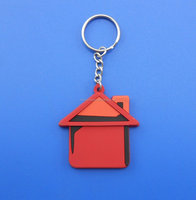 Red mini house key chain charm/rubber key ring/OEM custom key chain wholesale