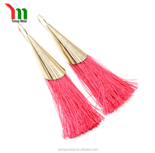 wholesale fashion charm gold rosegold plated latest earring designs for women red tassel nylon hanging tassle earrings