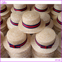 red and dark blue band boater straw hat