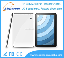 Factory direct sale 10.1 inch android tablet pc Allwinner A33 quad core tablet 10 inch