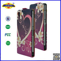 heart design ultra slim leather flip cover case for sony z2 laudtec