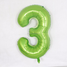 Great design of sealing valve self inflating apple green foil number balloons for wedding party decoration