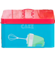 Square Blue Enamel Cake Storage Tin Container Carrier Caddy Cupcake
