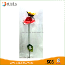 metal yellow butterfly and flower garden ornaments stake solar light