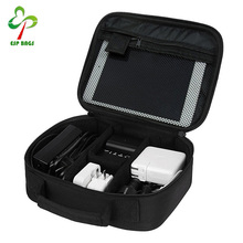 High quality roomy durable nylon travel electronic cable organizer bag with semi-flexible padded cover