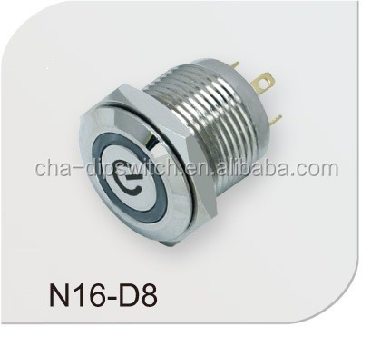 no nc momentary latching metal waterproof push button switch N16-D8